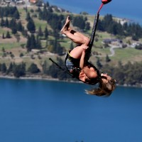 Alex going for the double front flip on The Ledge Bungy